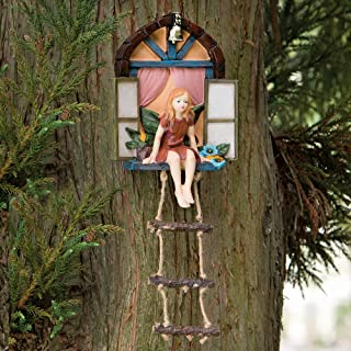 Bits and Pieces – Fairy House with Ladder Hanging Tree Sculpture – Outdoor..
