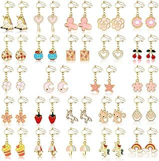 24 Pairs Clip On Earrings Unicorn Flower Non Pierced Earrings for Women Girls