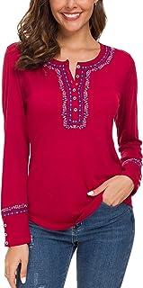Urban CoCo Women's Long Sleeve Boho Shirt Embroidered Top