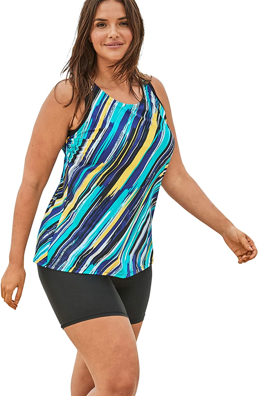 Swimsuits For All Women's Plus Size Longer Length Tankini Top