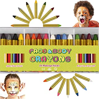Face Paint Crayons Kit 16 PCS, Bright Colors Face Paint Kit Set for Kids, Safe & Non-Toxic Face Body Crayons, Perfect for Halloween Makeup, Party or Pretend Play (16 PCS)