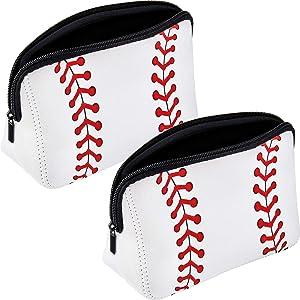 2 Pieces Baseball Print Makeup Bag Softball Travel Cosmetic Pouch Bag Waterproof Neoprene Bag with Zipper for Women, Girls, Travel, Teamates (White)