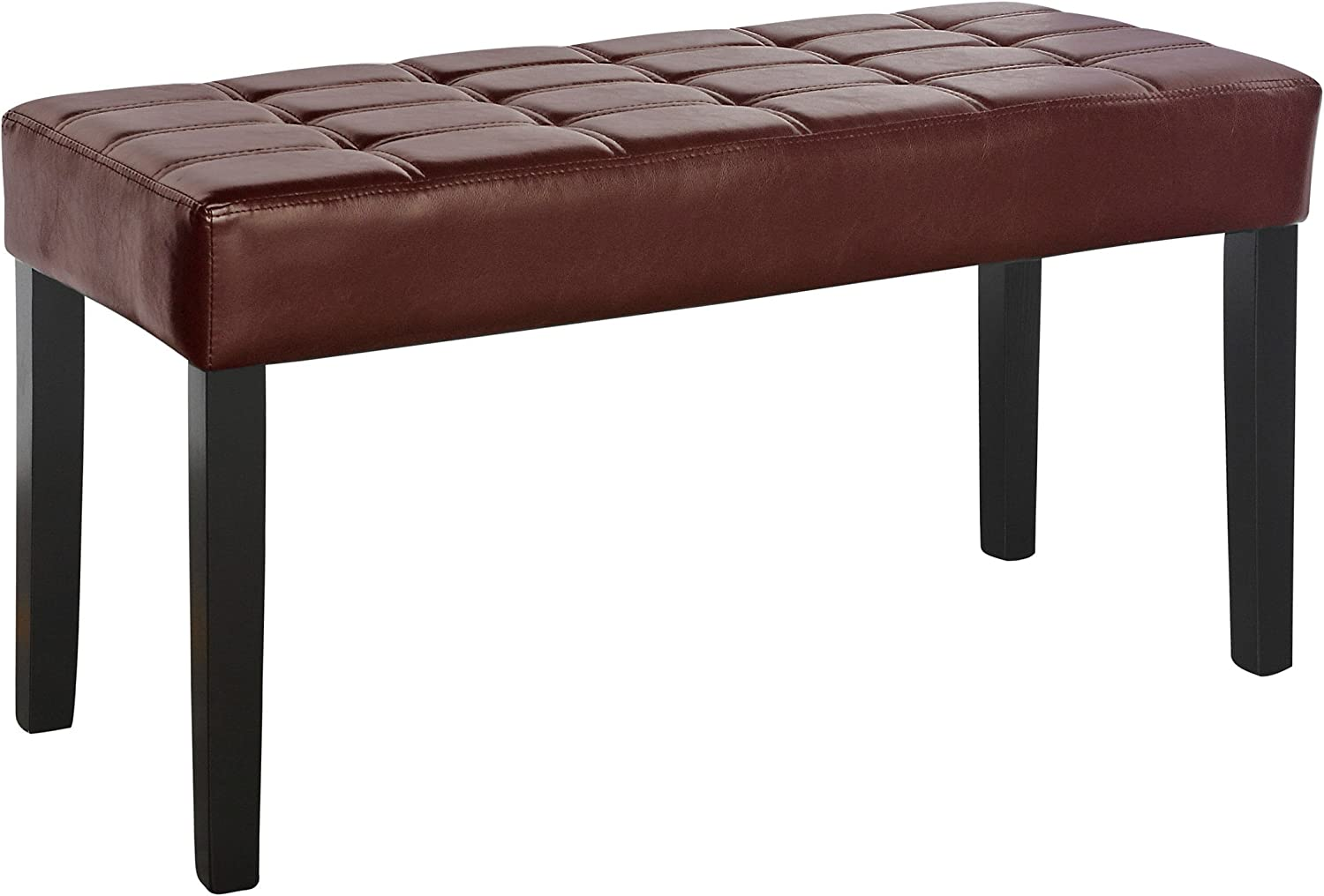 CorLiving LMY-180-O California 24 Panel Bench in Brown Leatherette