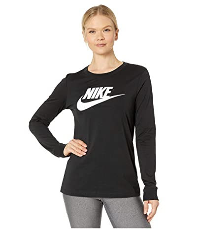 Nike NSW Tee Essential Long Sleeve Icon Futura (Black/White) Women