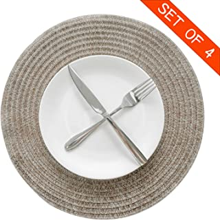 Familamb Round Placemats Set of 4 Vinyl Heat-Resistant Placemats for Dining Table Washable Stain Resistant Kitchen Table Mats Brown Beige