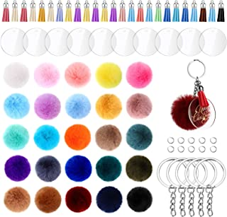 195 Pieces Pom Pom Keychain Fluffy Faux Fur Pompoms Keychain with Tassels and Keyrings Acrylic Discs for Bag Charm Accesso...