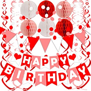 FECEDY Red Pink White Happy Birthday Banner with Cute Flag Bunting Paper Circle Confetti Garland Swirl Streamers Honeycomb...