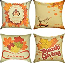 Wonder4 Fall Pillow Covers Autumn Theme Farmhouse Decorative Throw Pillow Covers Cushion Cases Decor Autumn Leaf Pillow Cases Cotton Linen for Home Sofa Bedding 18x18 inches Set of 4