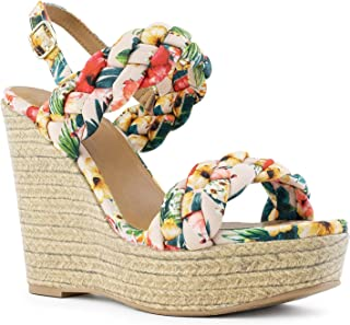RF ROOM OF FASHION Open Toe Quilted Trim Espadrille Platform Wedge