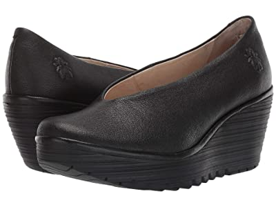 FLY LONDON Yaz Wide (Black Mousse) Women