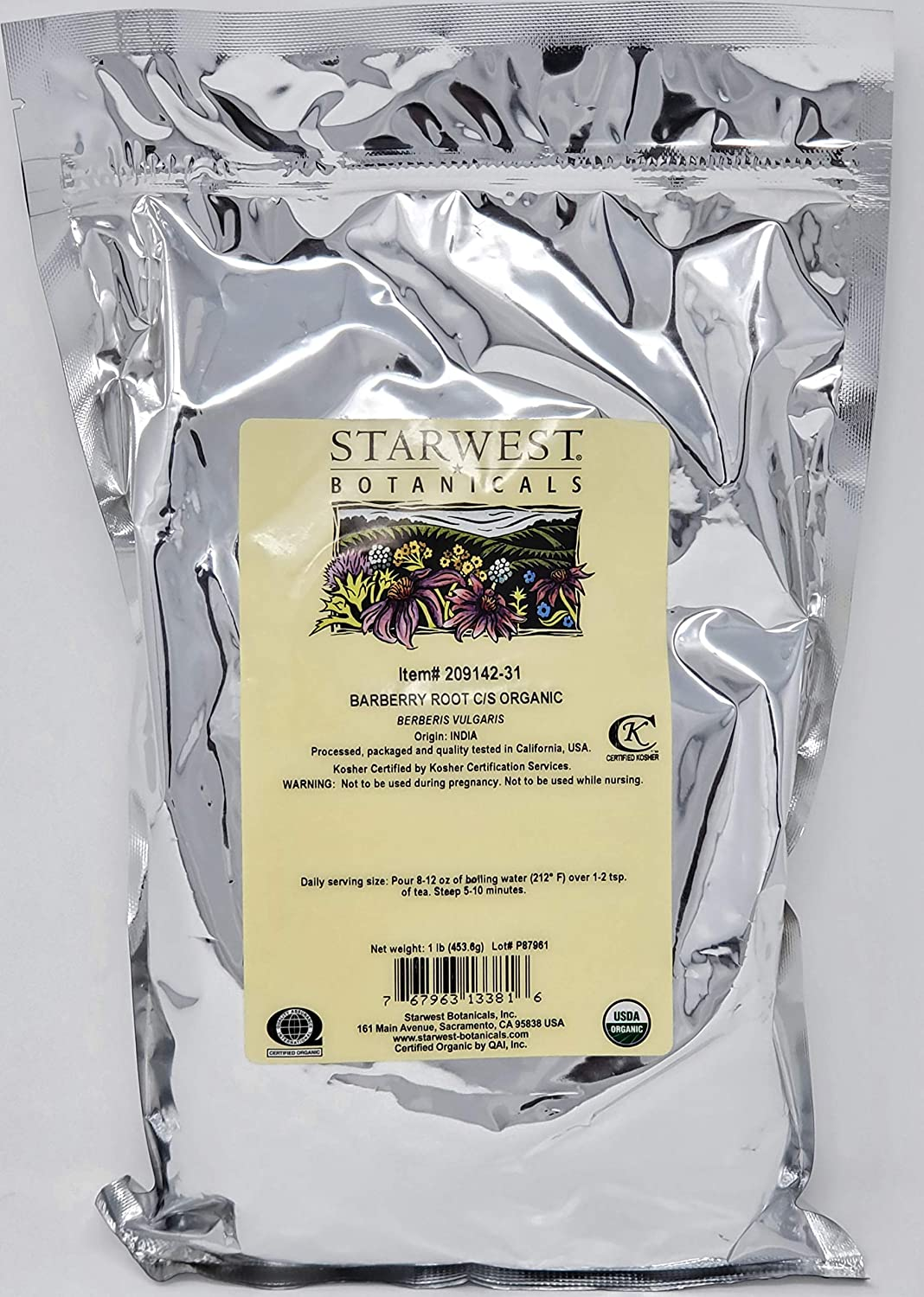 Organic Barberry Root Cut and Botanicals lb Starwest Sifted Super Special Tulsa Mall SALE held -1