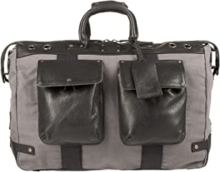 Men's Grey and Black Canvas and Leather Traveler Duffel Bag