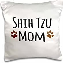 3dRose pc_154196_1 Shih Tzu Dog Mom Doggie x Breed Muddy Brown Paw Prints Doggy Lover Proud Pet Owner Mama Pillow Case, 16 x 16