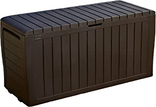 Keter Marvel Plus 71 Gallon Resin Plastic Wood Look All Weather Outdoor Storage Deck Box, Brown