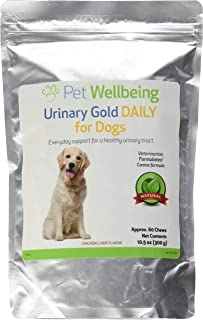 Pet Wellbeing Urinary Gold DAILY for Dogs - Natural Daily Maintenance of a Healthy Urinary Tract in Canines - 60 chews