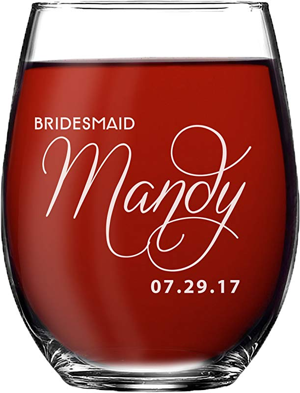 Personalized Bridesmaid Stemless Wine Glasses Gift Custom Engraved And Etched For Free