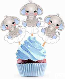 Blue Elephant Cupcake Toppers Cake Picks - Boy Baby Shower Decorations Supplies - 25 Pieces