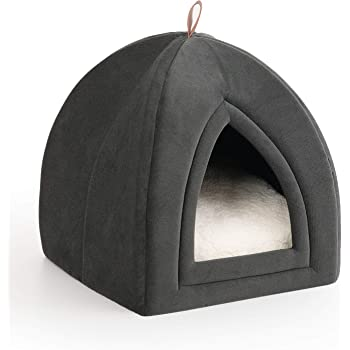 Bedsure Pet Tent Cave Bed for Cats/Small Dogs - 15x15x15 inches 2-in-1 Cat Tent/Kitten Bed/Cat Hut with Removable Washable Cushioned Pillow - Microfiber Indoor Outdoor Pet Beds