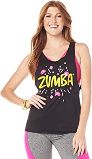 Zumba Loose Graphic Print Dance Fitness Tank Tops Activewear Workout Tops for Women, XXL, Bold Black Heather
