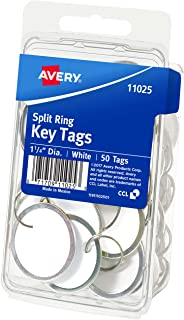 Avery Metal Rim Key Tags, White Card Stock/Metal Rim, 50 Key Ring Tags Included (11025)