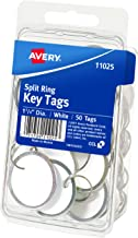 Avery Metal Rim Key Tags, White Card Stock/Metal Rim, 50 Key Ring Tags Included (11025)