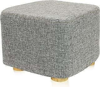 DL furniture - Square Ottoman Foot Stool, 4 Leg Stands, Short Leg, Square Shape | Linen Fabric, Gray