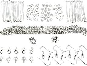 TOAOB 163pcs DIY Making Starter Kit Findings Silver Tone
