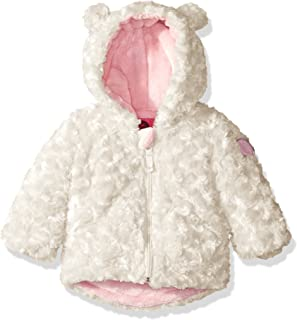 6ad94093dbc Weatherproof Baby Girls' Rosette Faux Fur Knit Jacket, Winter White, 12  Months