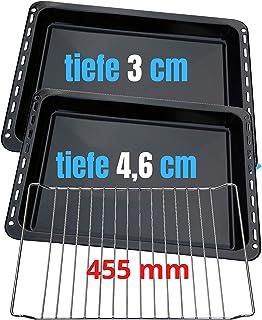 455x370x 31 und 46mm 3er SET mit 2 Backbleche 2 tiefe emailliert und 1 Backrost 455x370x25 passend für BSH-Gruppe 662999 – 00662999, 434038 kompatibel Bosch Siemens Neff Constructa Balay NEFF Gorenje