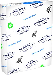 Hammermill Paper, Great White 100% Recycled Printer Paper, 8.5 x 11 Paper, Letter Size, 20lb Paper, 92 Bright, 1 Ream / 500 Sheets (086790R) Acid Free Paper