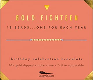 "Milestone 18th Birthday Gifts for Girls - 14K Gold Dipped Beads Bracelet on Adjustable 7""- 8"" Cord - Bold 18 Year Old Girl Gifts"