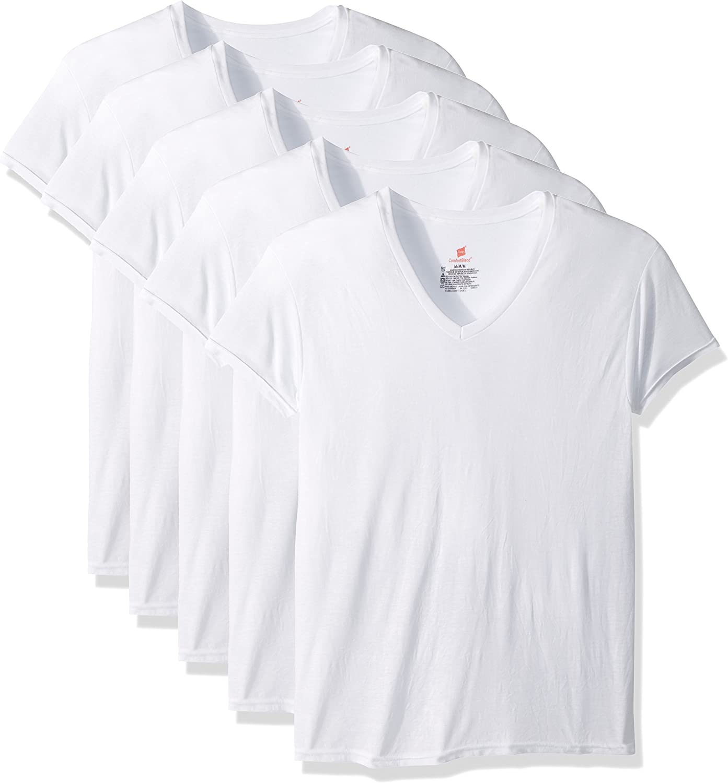 White Hanes Mens 5-Pack ComfortBlend V-Neck T-Shirt with FreshIQ Medium