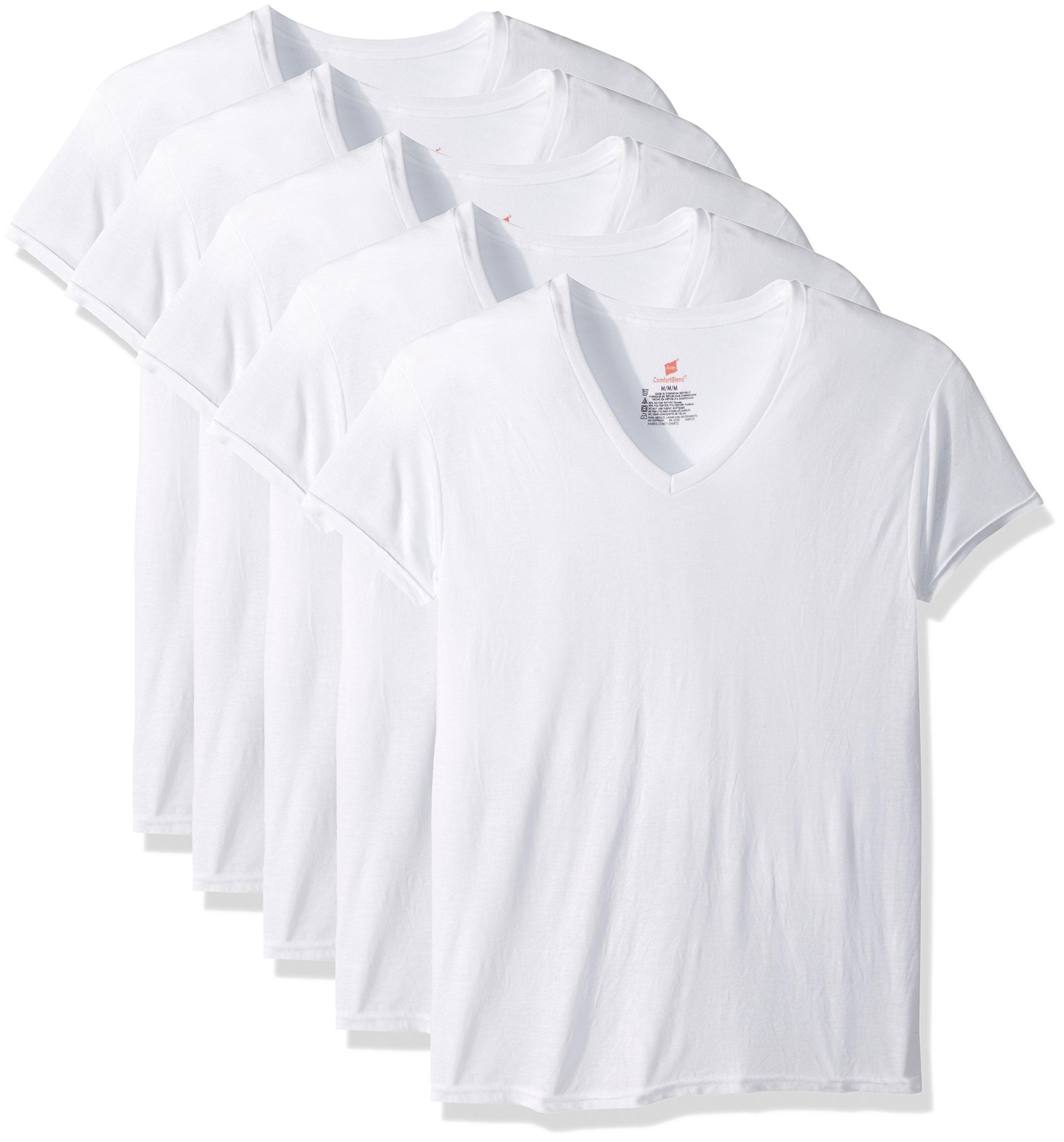 Hanes Men's 5-Pack ComfortBlend V-Neck T-Shirt with FreshIQ