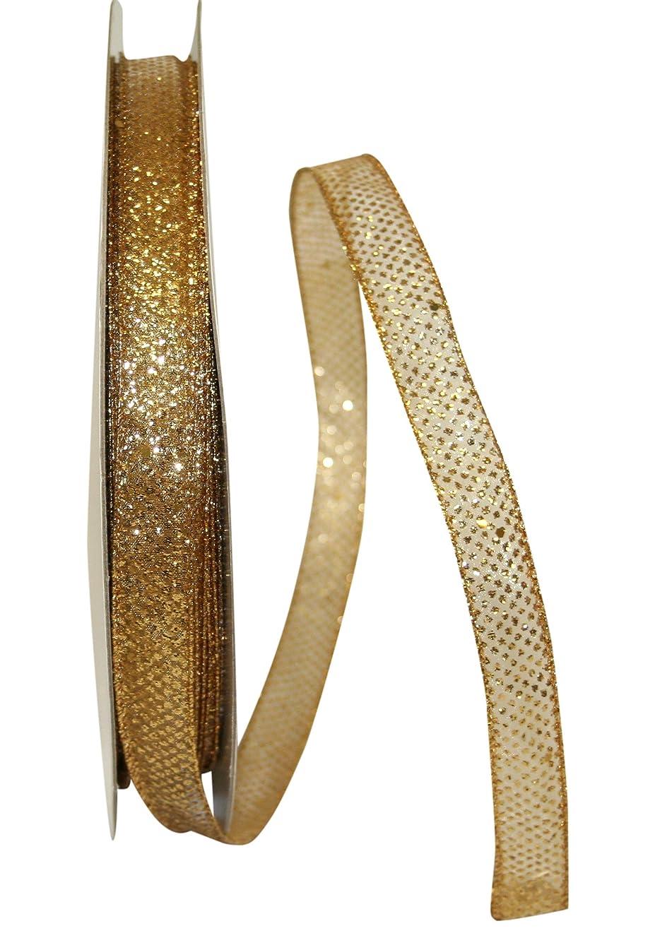 Reliant Ribbon 25741W-035-03K Sheer Glitter Dot Wired Edge Ribbon, 5/8 Inch X 50 Yards, Gold