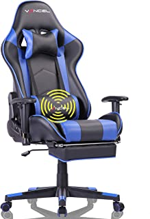 Gaming Chair Office Desk Chair High Back Computer Chair Ergonomic Adjustable Racing Chair Executive PC Chair with Headrest,Massager Lumbar Support & Retractible Footrest (Blue)