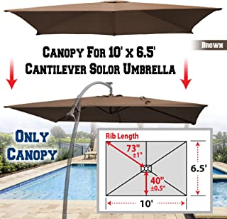 BenefitUSA Replacement Canopy Cover for 10' X 6.5' Cantilever Patio Umbrella Offest Parasol Top Replacement (Brown)