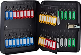 AdirOffice Key Cabinet with Combination Lock - 60 Key Hooks & Tags - Durable & Heavy Duty Secured Storage for Homes Hotels Schools & Commercial Use (Black)