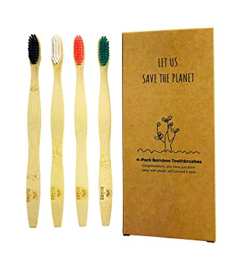 SUARZ Bamboo Toothbrush (4-Pack) - Multicolored- Firm Bristles - Eco-Friendly – BPA Free Nylon bristles- Better for Our Health and The Environment.
