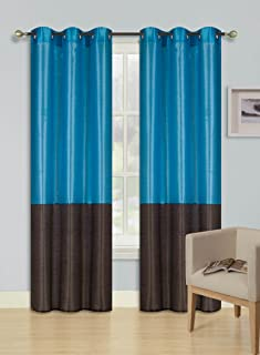 GorgeousHome (HEIDI) 2Pc Silky Silver Grommet Top Window Curtains Panels Drape Treatment 2 Tone New in Many Colors and Sizes (84