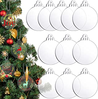 24 Pieces Christmas Round Acrylic Sheet Christmas Acrylic Circle Blanks Clear Round Acrylic Blanks Transparent Acrylic Rou...