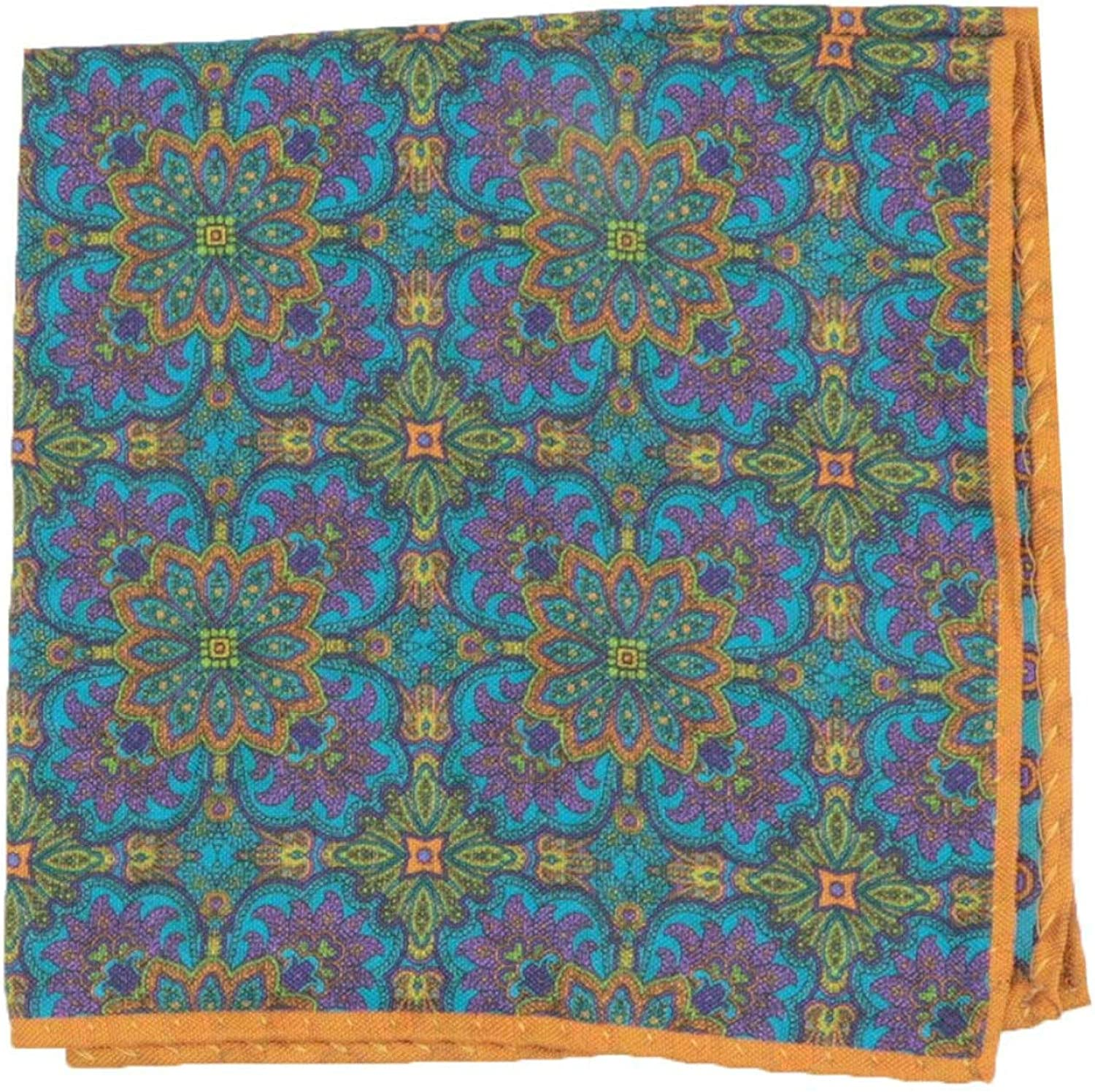 Dion Discount is also underway Men's Double Sided Floral online shopping Silk Medallion Pocket Square