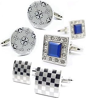 MFYS Jewelry メンズジュエリー 四角カフス 3点セット (カフスボタン?カフリンクス)ビジネス 結婚式 プレゼントにも最適 アクセサリー
