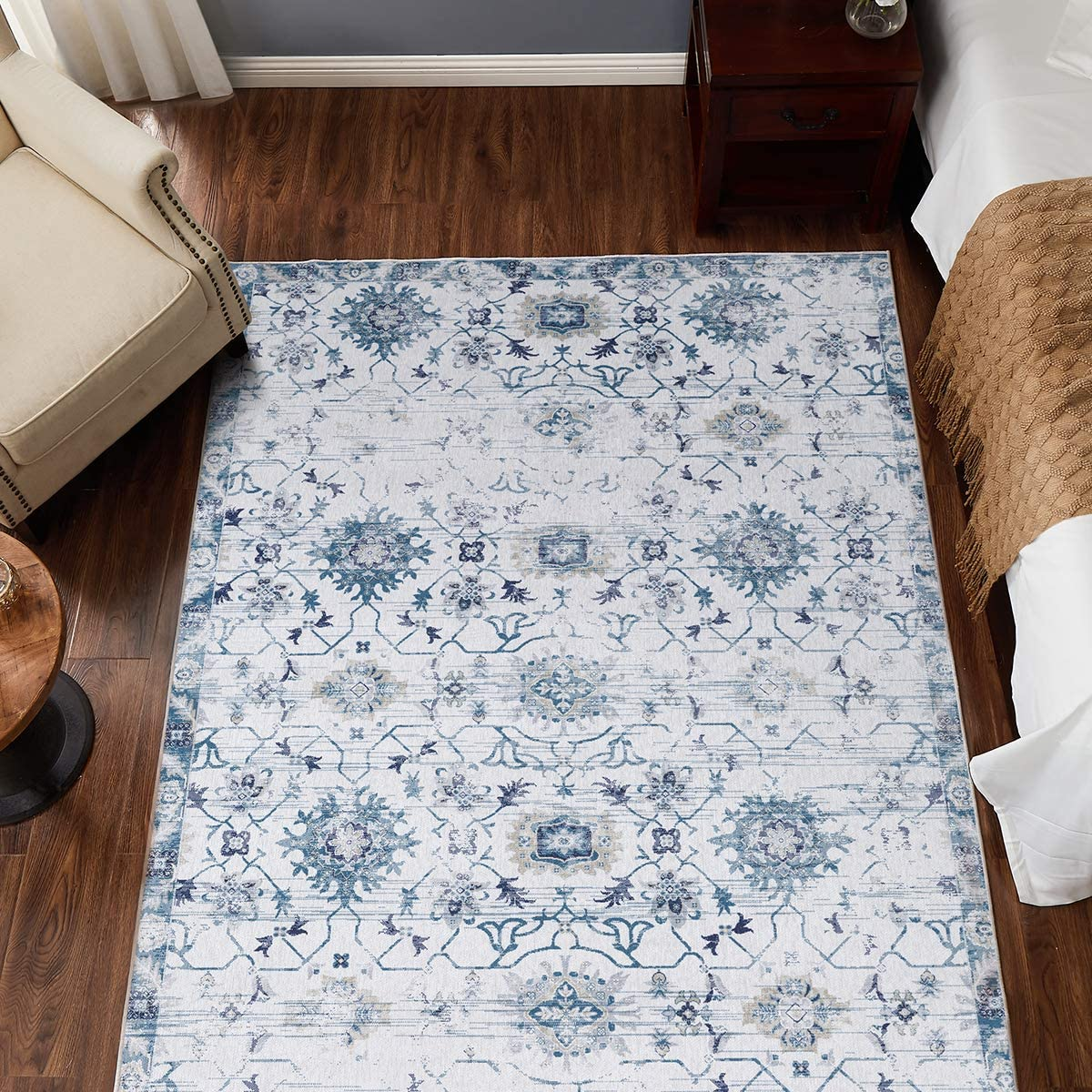 JINCHAN Don't miss the campaign Door Mat 3x5 Vintage Area Kitchen F Blue Outlet ☆ Free Shipping Rug Persian