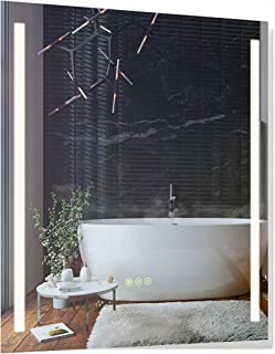 B&C 30x36 inch Super Slim Bathroom Mirror Vertical| 2 Led Strips| Polished Edge &Frameless | Defogger & Dimmer|Touch Switch|Copper Free Silver Backed