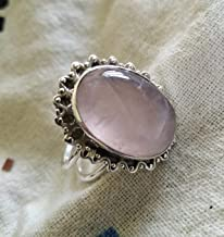 Rose quartz ring, 925 Sterling silver, Rose quartz silver ring, Unique ring, Rose quartz jewelry, Genuine ring, Handcrafted rose quart ring, Cabochon ring, Antique ring, Rose gems ring, Boho Chic