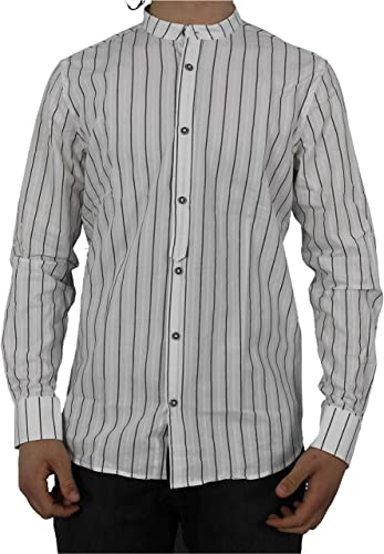 Sseinse Chemise Coréenne Homme à Manches Longues Coton et Lin Blanc Noir