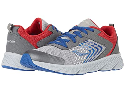 Saucony Kids S-Wind (Little Kid/Big Kid) (Grey/Blue/Red) Boys Shoes