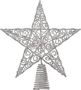 Ornativity Silver Star Tree Topper - Christmas Swirl Design Sparkle Star Treetop Ornament