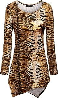 IF.U live Women Asymmetrical Shirts Tie Dyed Print Hankerchief Hemline Tunic Top