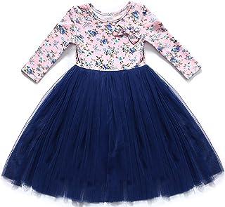 cf034c4c3346d Flofallzique Vintage Floral Long Sleeve Maxi Girls Easter Dress V Back for  1-12 Years